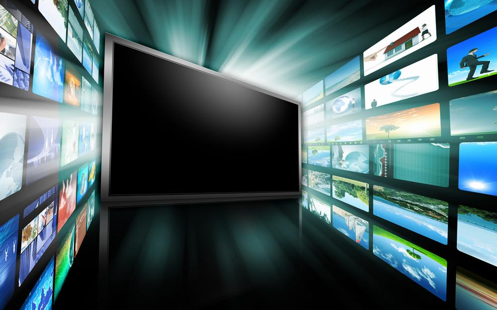 TV screen with wall of screens